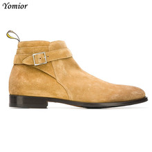 Yomior Vintage England Real Cow Leather Men Ankle Boots Formal Dress Shoes Big Size Luxury Designer Male Slip-On Chelsea