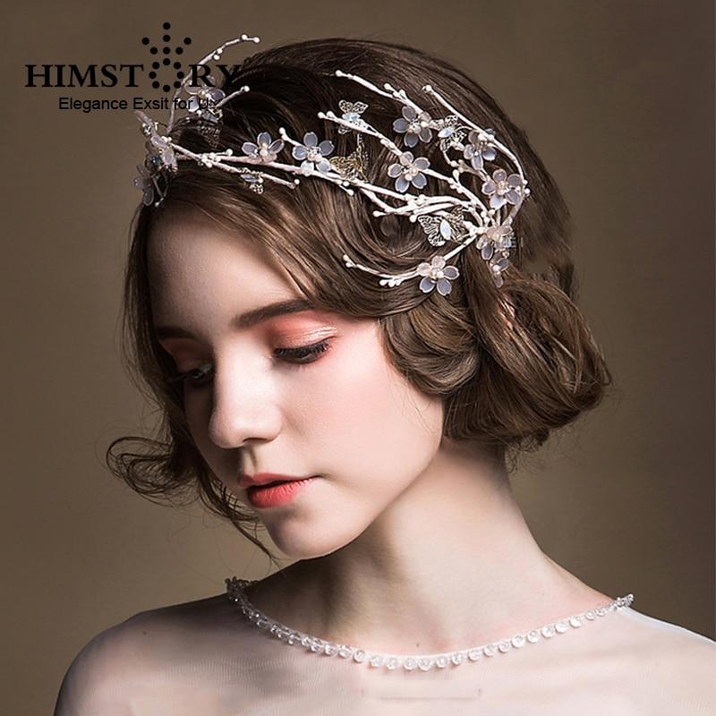 HIMSTORY Gorgeous Handmade Flower Wedding Hairband Crown Bride Butterfly Tiara  Fascinator Hairwear Hair Accessory