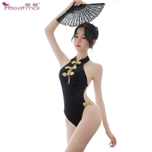 Cheongsam Strappy Backless Sexy Bodysuit Women Golden Classical Buckle Teddy Lingerie Stand Collar Bodysuits Elegantes