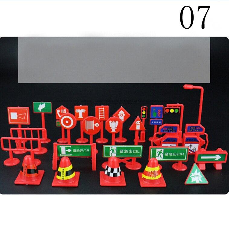 28 pcs/ set of children DIY model scene toy sign road sign roadblock traffic sign free shipping