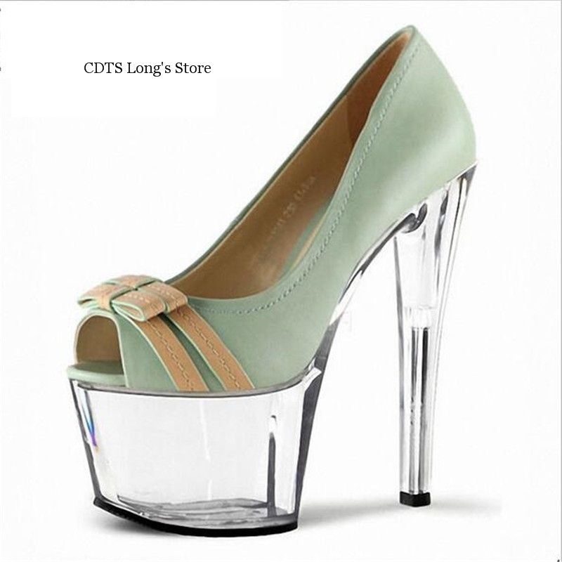 ФОТО CDTS 2016 Bowtie shoes woman spring/autumn Peep Toe 15cm high heels crystal platform wedding pumps,Big 35-45 46
