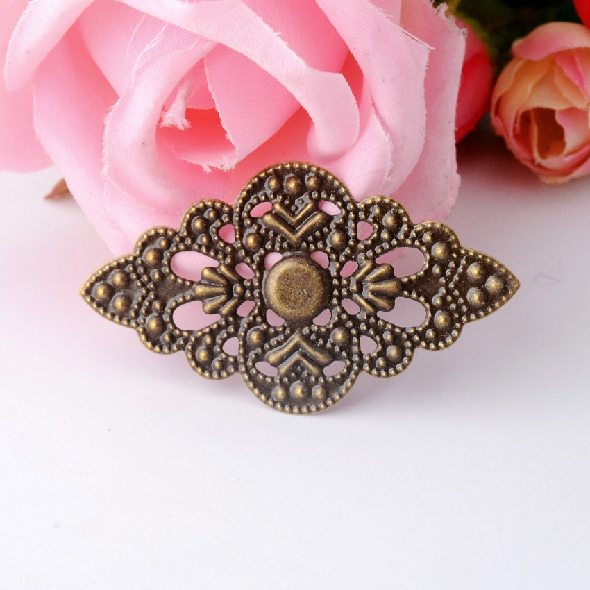 MIAOCHI 10Pcs Antique Bronze Filigree Wraps Connectors Crafts Gift Decoration DIY Embellishments Findings 5.2x3cm F0469