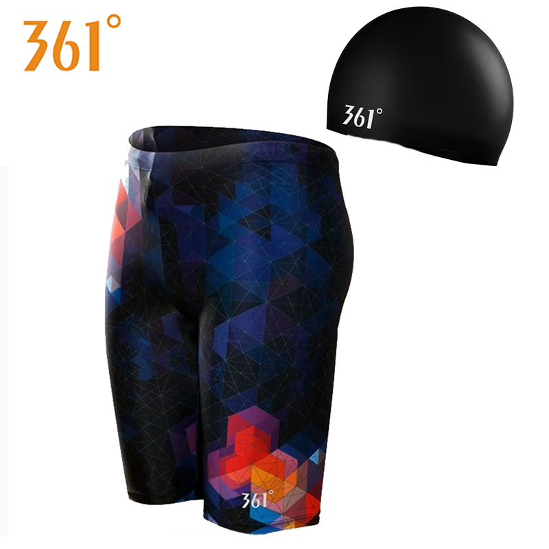 361 Men Swim Pants With Swimming Cap Plus SizeTight Swim Shorts Men 2018 Pool Swimming Trunks Briefs Male Swimsuit Boys Swimwear