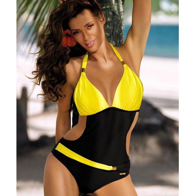 7a0890d3438 Sexy Plus Size Swimwear One Piece Swimsuit Women Backless Monokini Trikini Halter  Push Up Bathing Suit Beach Wear Bathing Wear