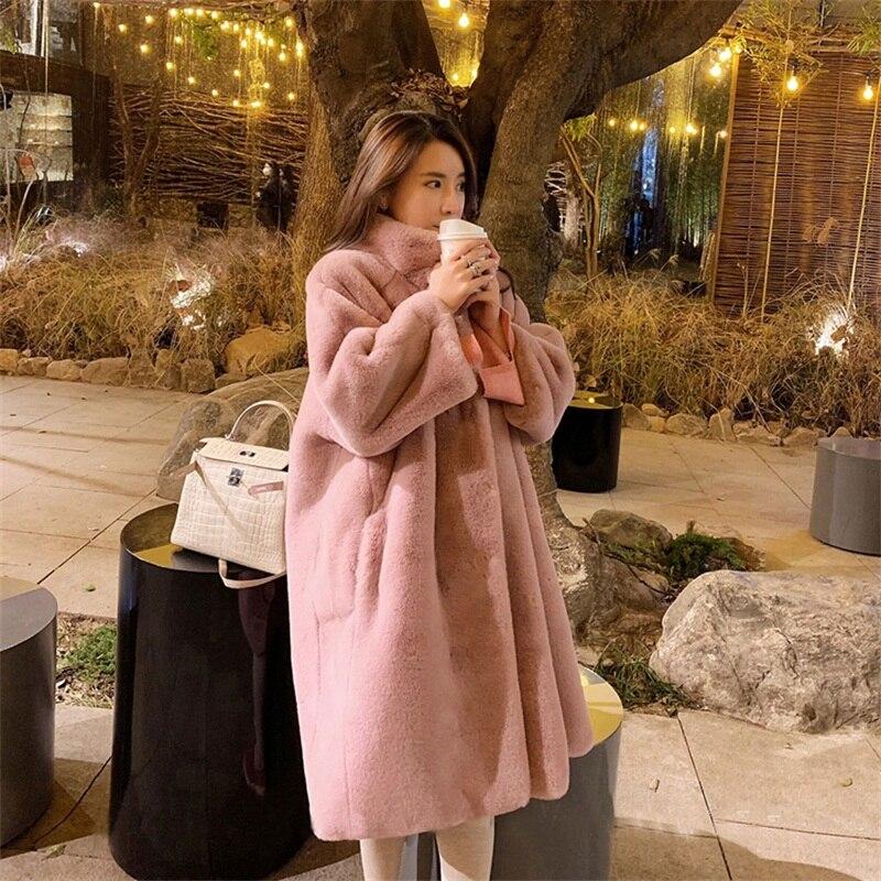 2019 hiver fourrure laine avec sieste douce sur le genou femme avec manteau ample mode col Mandarin fausse fourrure manteau