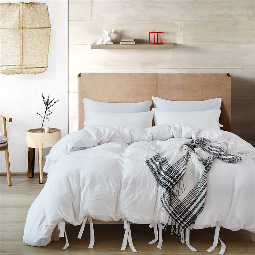 3Pcs US Twin Queen King Size Grey Bedding Duvet Cover Set With Ties Bedding Set Pillow Shams Soft Microfiber Natural Wrinkled