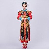 Высокое качество китайский император традиционный костюм китайский император древнего Queen костюм династии Цин дракон халат chosang 17