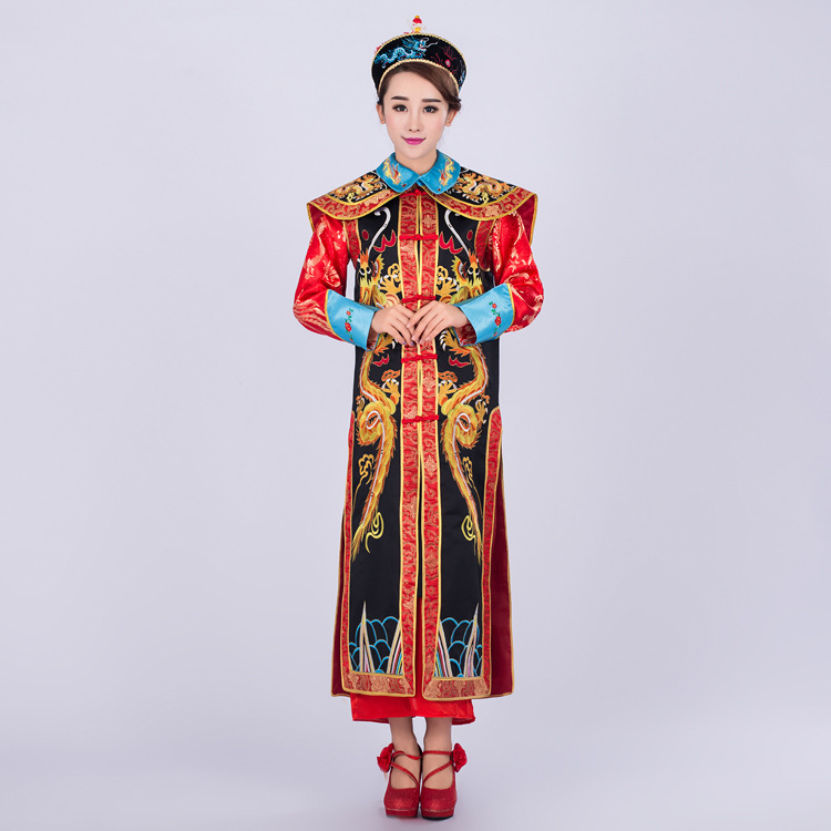 High Quality Chinese Emperor Traditional Costume Chinese Ancient Emperor Queen Costume The Qing Dynasty Dragon Robe Chosang 17 black and coffee 2 colors hair tiara ancient chinese emperor or prince costume hair crown piece cosplay use for kids little boy