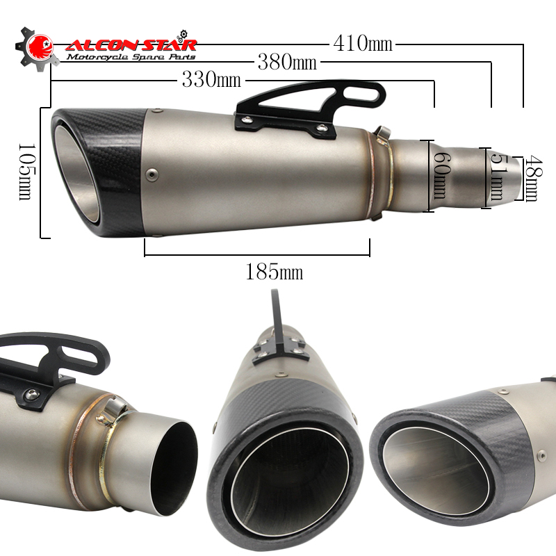 Alconstar-Universal Modified Motorcycle Scooter Motocross Exhaust Muffler GY6 Dirt Bike Exhaust YZF R1 FZ6 NINJA300 Z800 Z1000 gy6 scooter driven wheel high performance scooterl drivern scooter fit for 125cc 150cc engine chinese all brand motocross lh 115