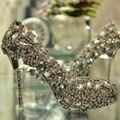 Ультра-роскошный атласа верхней стилет каблук женщины шинни красочный горный хрусталь свадебные туфли дамы большой алмаз ну вечеринку туфли