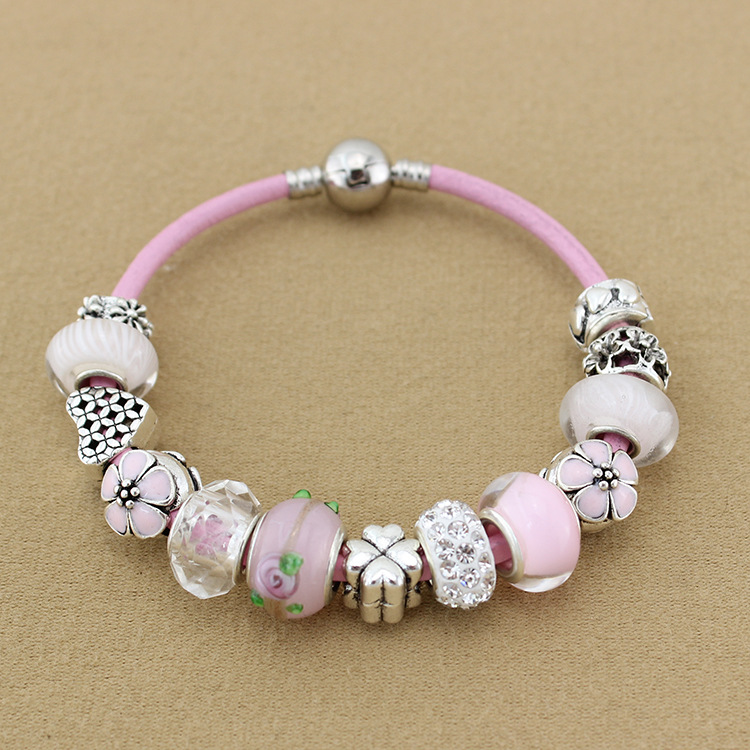European Retro Pink Leather Rope Glass Beads Love Silver Plated Noble Women Fashion Pandora Zipper Women's Clothing Accessories