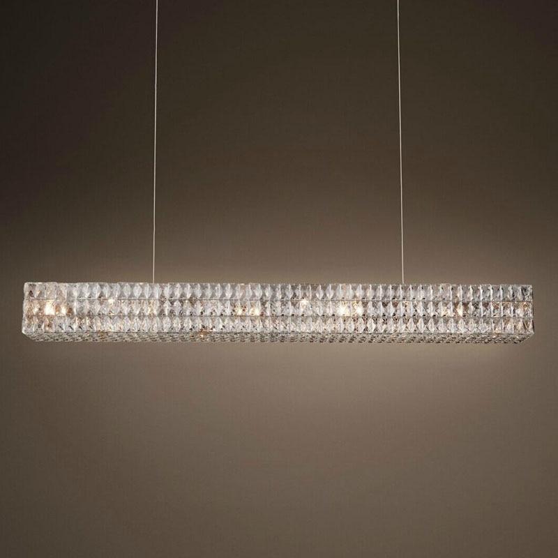 Luxury Crystal Restaurant Linear Large Chandelier Retro Rectangle Lights Fixture for European Living Room Hall Lamp 110V-240V издательство молодая гвардия густав малер