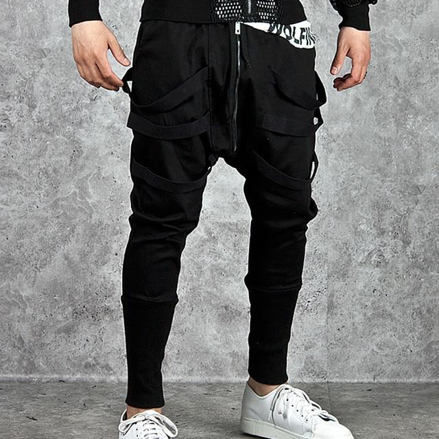 Fashion 2019 Outdoor Sport Men Hip Hop Design Sweatpants Men Black
