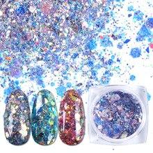 1 шт., очаровательные блестящие голографические наклейки для ногтей, шестиугольные хлопья с блестками, неравномерный пигмент с блестками, украшения для ногтей, BEXKP01 12