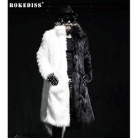 ROKEDISS Fashionable Male Korean Version Fancy Fake Fur Coat Pure Color Classic Black White Plush Sheath