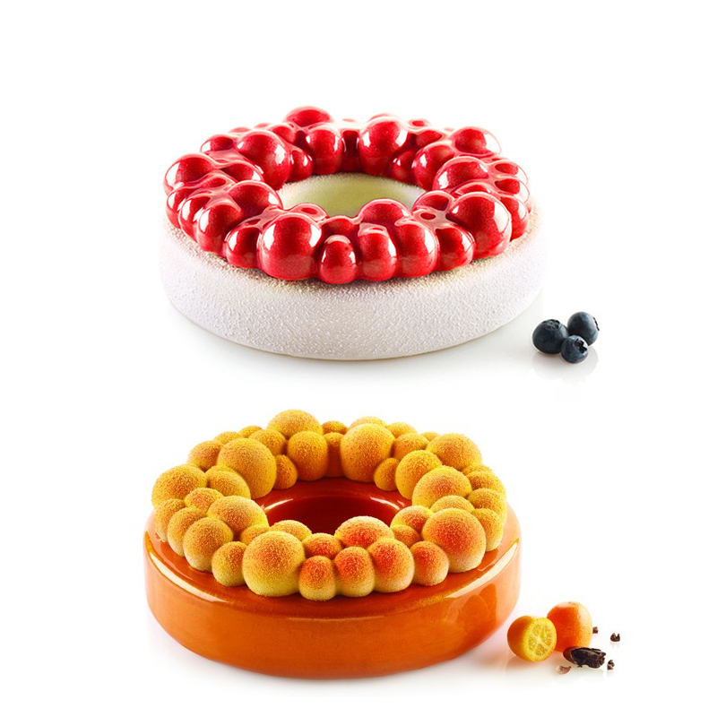 Round Cherry Bubble Cake Molds Silicone Mold Non-stick for Baking Brownie Chiffon Sponge Party Cakes