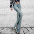 2017 весна женская высокая талия placketing упругой тонкий flare брюки женщины нью повседневная denim широкого покроя штаны s227