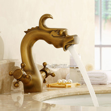 цены Dragon Shape Brass Faucet Bathroom Basin Faucet Dual Cross Handles Vanity Sink Mixer Tap Deck Mounted Hot Cold Mixer Tap GD03