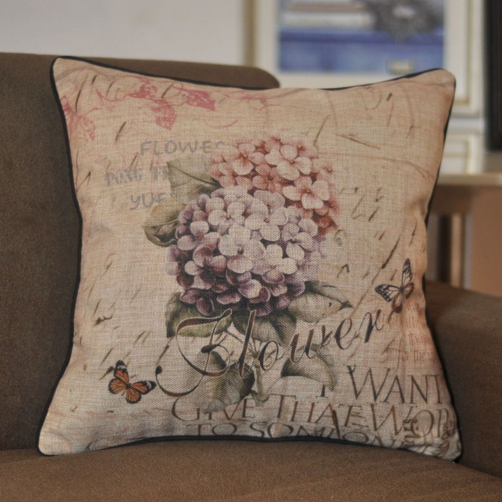 Vintage Flower Butterfly Pillow Cover Floral Cushion Cover