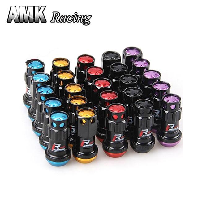 AMK racing--20Pcs/Set Wheel Nut 1.25 Car Anti theft Nuts Gold, M12 x 1.25 Wheel Lock Formula Lug Nuts Security Key Alloy Steel