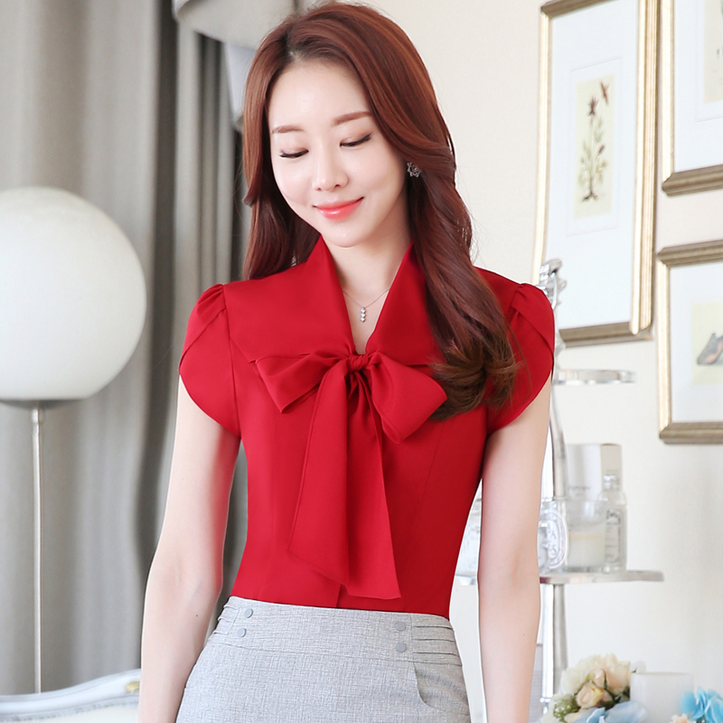 Ladies Office Women Work Tops Shirt Summer Short sleeves Business Round neck