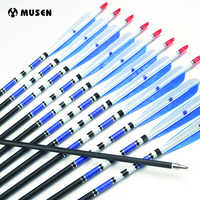 """6/12/24pcs Real Turkey Feather Carbon Arrows with Length 31"""" Spine 500 for Hunting Archery for Compound and Recurve Bow E"""