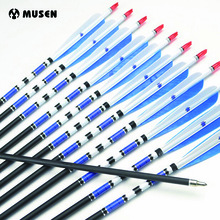 "Real Turkiet Feather Fletch Carbon Arrows 31 ""8 mm Carbon Archery Arrow Ryggsäck 500 Jakt Bueskyddsutrustning för Compound / Recurve Bow E"