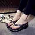 Бесплатная доставка новый 2016 летняя площадка женщина сандалии мода пляж клин вьетнамках Mulit цвет досуг обувь горячие продаж ST142