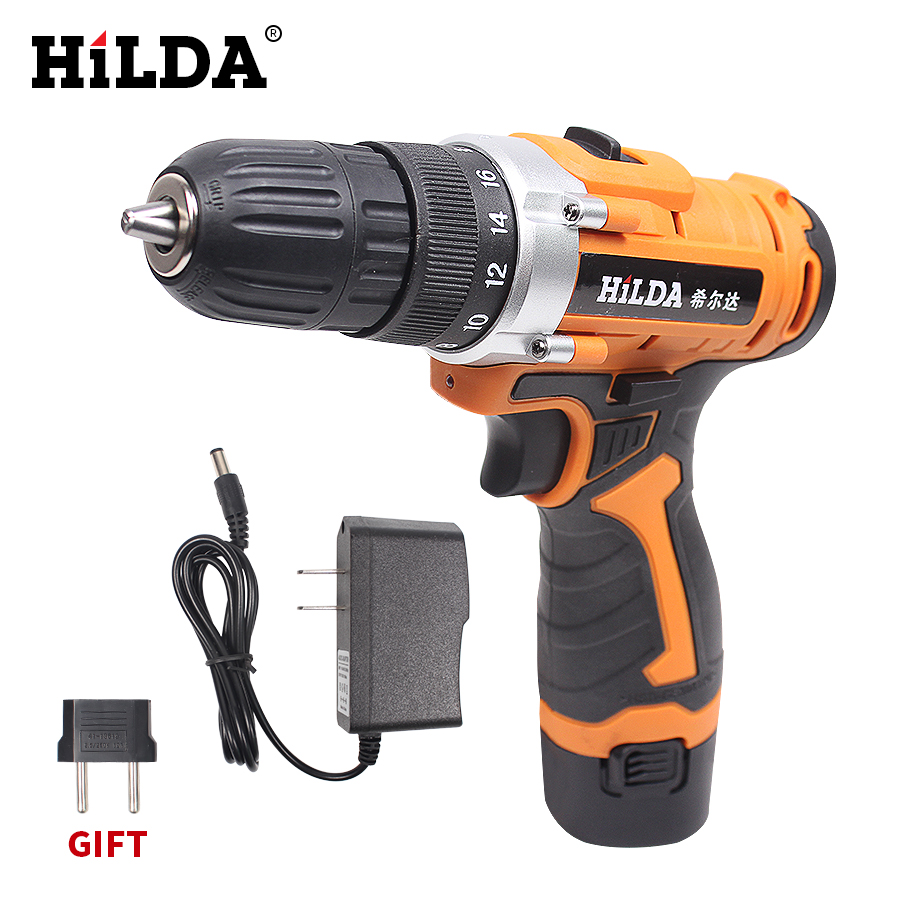 HILDA 12V Cordless Screwdriver Electric Drill Two-Speed Rechargeable Lithium Battery Waterproof Hand LED Light