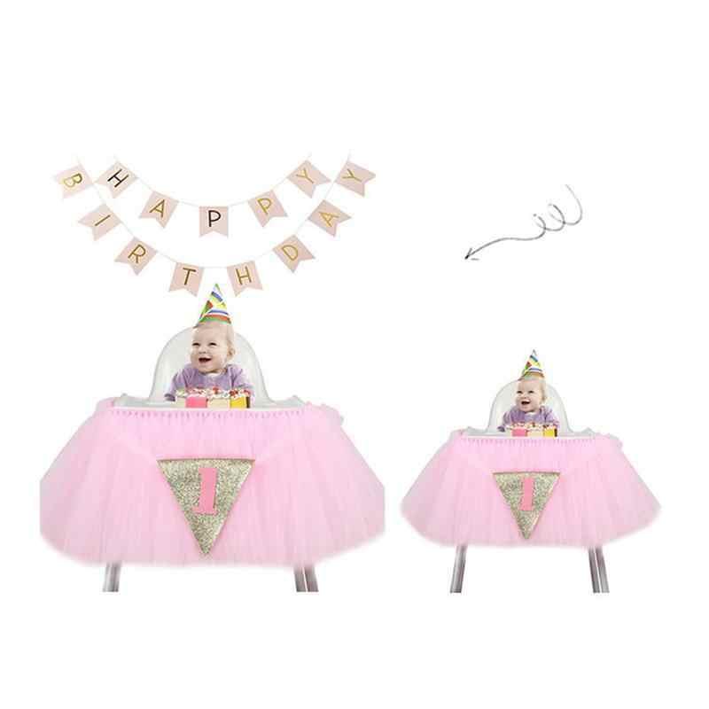 2 шт., юбка для стола, блестящая юбка для стула, баннер с гирляндами, комплект для дня рождения, милое украшение душевой кабины для малышей
