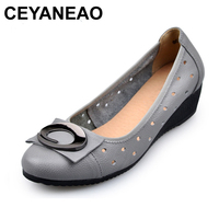 CEYANEAO 2018 New Product Shallow Women Pumps Genuine Leather Wedge Shoes Elegant Woman High Heels Comfort Women Shoes