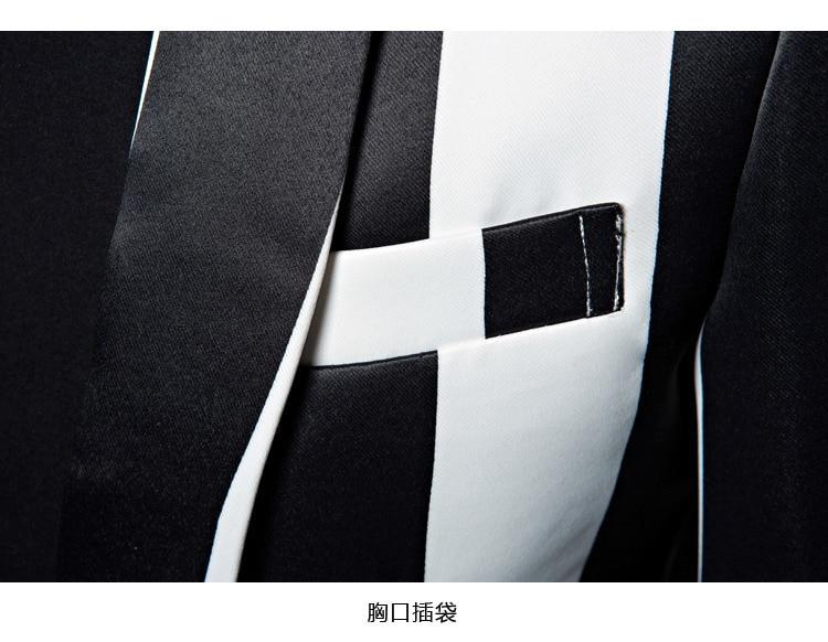 PYJTRL Brand M-5XL New Tide Men Black White Zebra Stripe Blazer Male Stage Wear Masculino Slim Fit Fashion Casual Suit Jacket