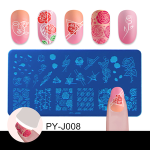 Image 3 - PICT YOU Nail Stamping Plates Rose Flowers Patterns Rectangle Plates Image Geometric Stamp Templates Nail Art Stencil Plate