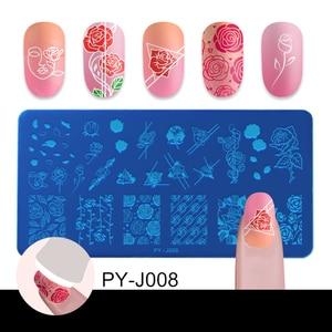 Image 3 - PICT YOU ongles estampage plaques Rose fleurs motifs Rectangle plaques Image géométrique timbre modèles Nail Art pochoir plaque