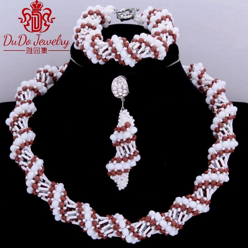 Délicat marron et blanc en gros dames bijoux africains ensemble pour femmes Dubai mariée africaine nigériane mariage bijoux ensembles chaud