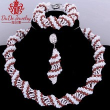 Delicate Brown And White Wholesale Ladies African jewellery set For Women Dubai Bridal African Nigerian Wedding Jewelry Sets Hot(China)