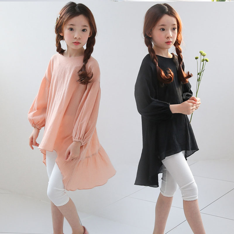 все цены на asymmetric little girls shirts dress long sleeve cotton children spring autumn long black girl shirts 2018 new big kid clothes