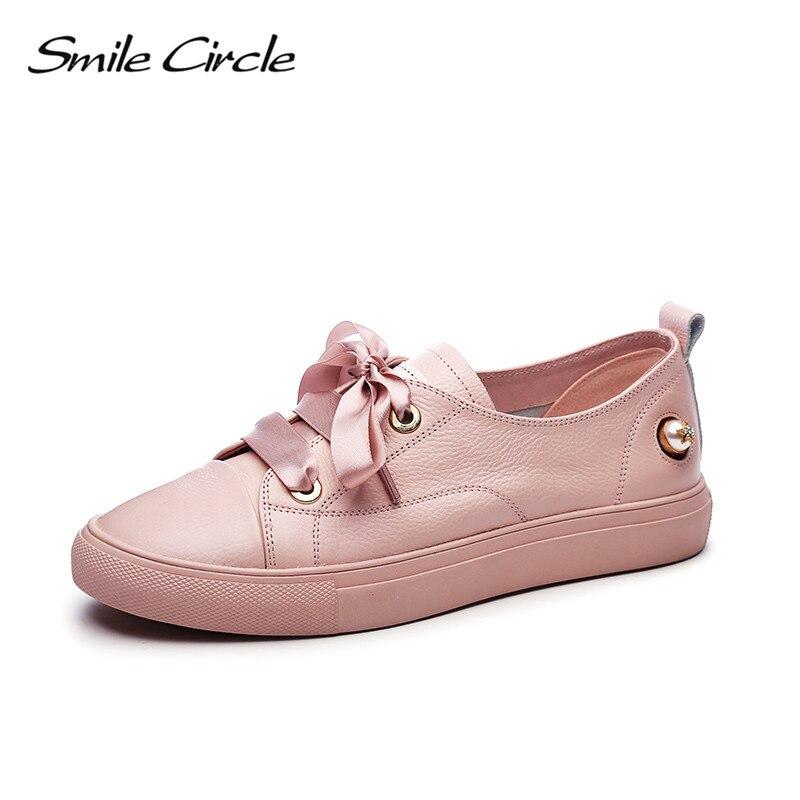 Sourire Circle 2018 printemps en cuir véritable baskets femmes mode à lacets plate-forme chaussures fille chaussures décontractées A9A8121-2
