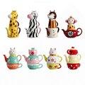 Креативный сборный животный многофункциональный чайник Цзиндэчжэнь фарфоровый керамический подарок чайный чайник (1 чайник  1 кружка  1 чаш...