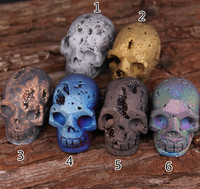 6 Color 1 PCS Sculpture Skull Head Natural Stones Titanium Druzy Healing Decoration Raw Drusy Agate
