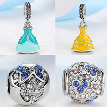 Silver Plated Bead Enamel Princess Cinderella Dress Cartoon Mouse Pendant Beads Fit Pandora Charm Bracelets DIY Jewelry(China)