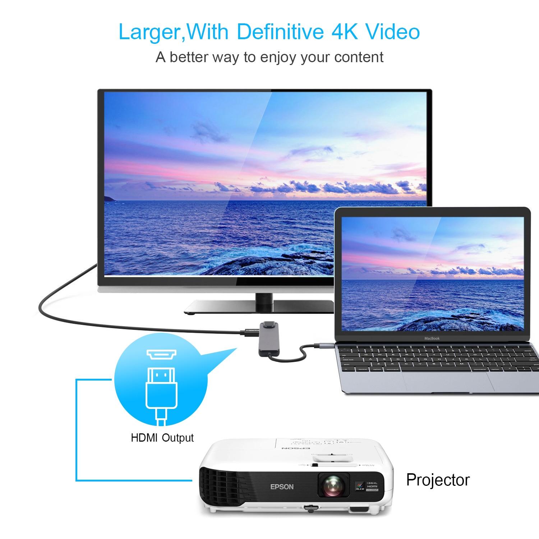 5 en 1 USB c Hub vers HDMI Gigabit Ethernet Rj45 adaptateur Lan pour Macbook Pro iPad Pro 11 12.9 2018 Thunderbolt 3 Type c Hub - 5