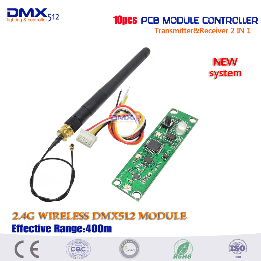2017 New system dmx512 controller 10pcs Transmitter&Receiver 2 in 1 Wireless DMX512 Controller PCB Module Upgrade stage lighting