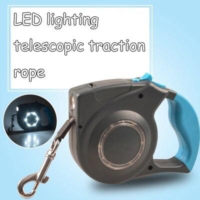LED éclairage télescopique traction corde rétractable automatique chien laisses fournitures pour animaux de compagnie petits et moyens chiens léopard chaîne corde