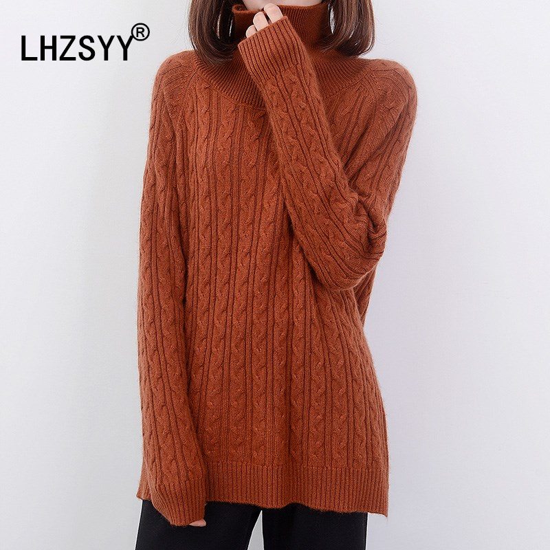 LHZSYY Autumn Winter New High Collar Cashmere Sweater Short Pullovers High quality soft warm Solid twist