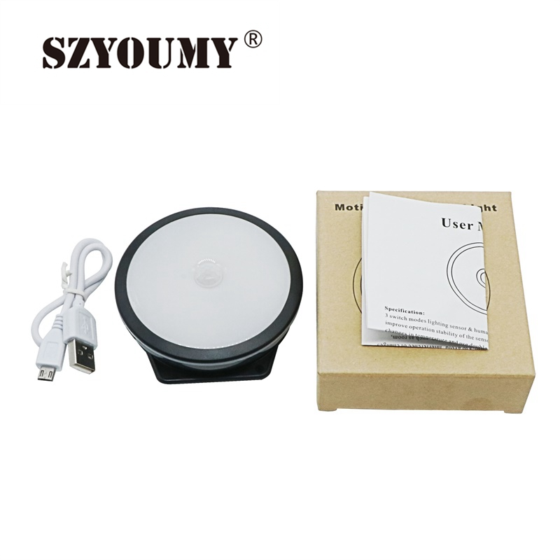 LED Motion Sensor Night Light For Closet 6 LED Cabinet Lighting USB Rechargeable Wireless Motion Activated Novelty Lamp
