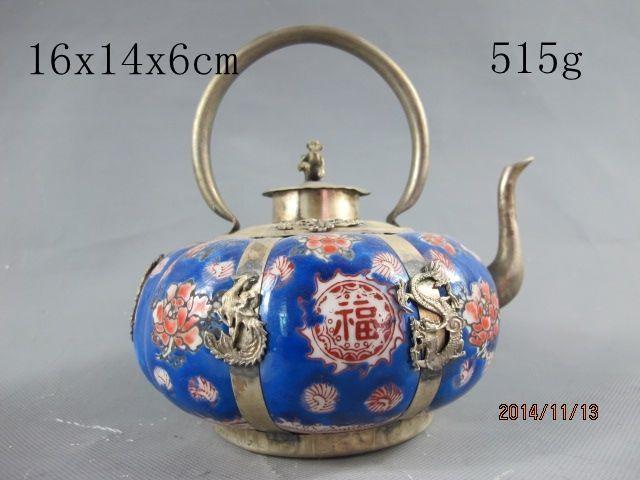 Китайский Старый тибетский серебряный феникс бабочка голубая Керамика чайник украшения сада 100% Настоящее Тибетский серебро латунь