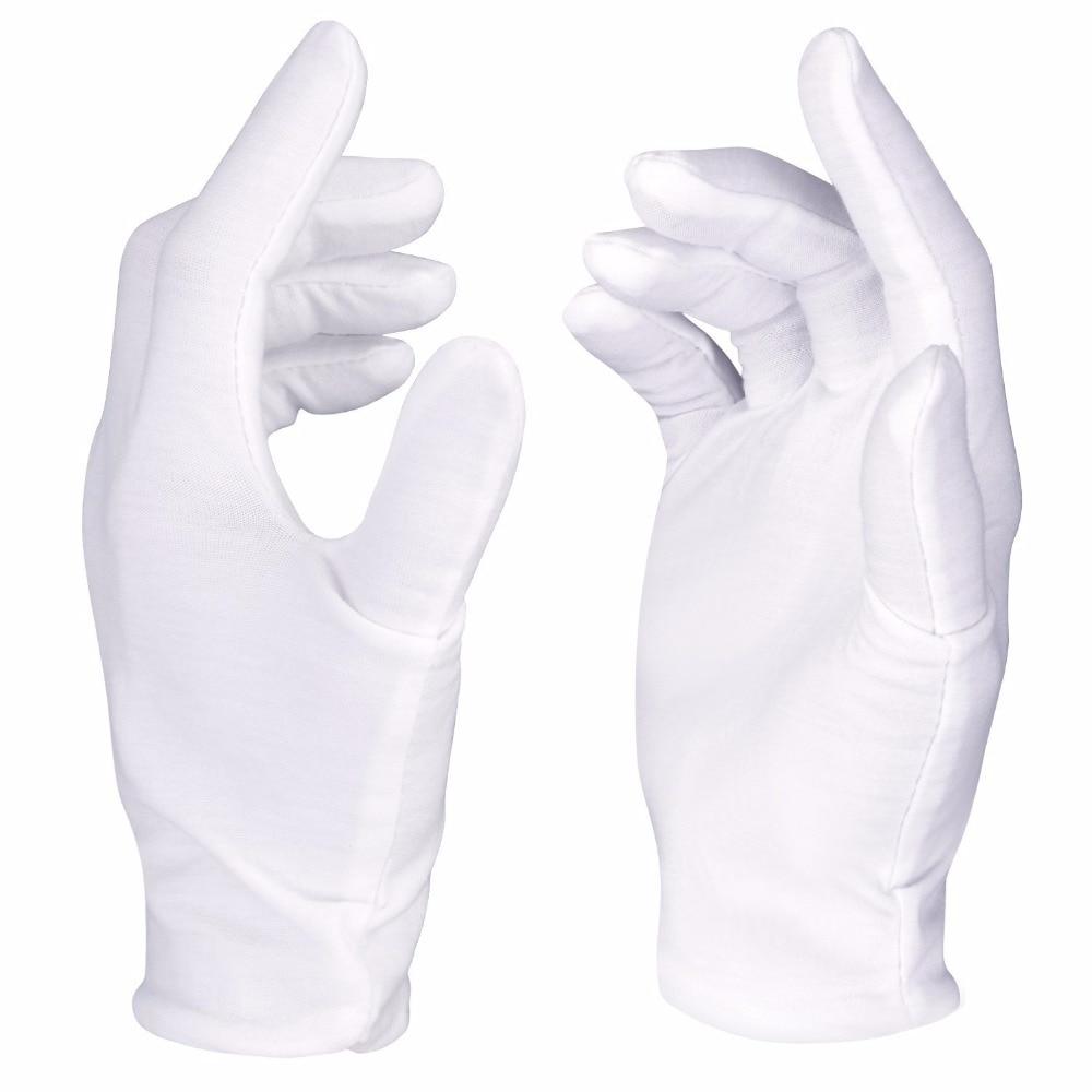 Neewer 12 Paires (24 Gants) 100% Coton Lisle Inspection Blanc Travail Gants pour Coin, bijoux, argent, ou Photo D'inspection