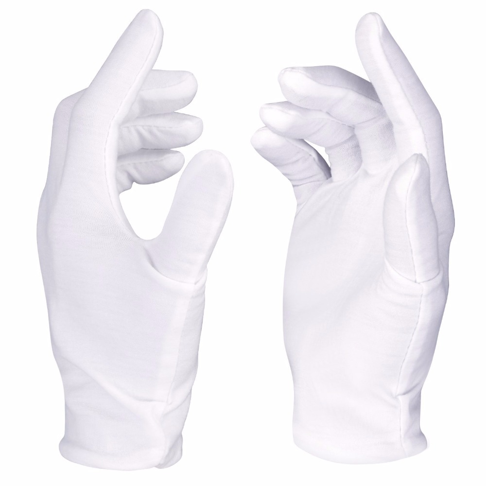 Neewer 12 Pairs (24 Gloves) 100% <font><b>Cotton</b></font> Lisle <font><b>White</b></font> Inspection Work Gloves for Coin, Jewelry, Silver, or Photo Inspection