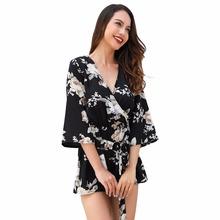 Summer North America new hot fashion personality temperament casual loose sexy print Slim womens jumpsuit
